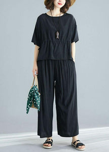 black summer short sleeve pullover and casual drawstring pants two pieces