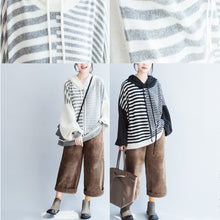 Load image into Gallery viewer, black thick warm striped patchwork woolen knit tops chunky oversize hooded pullover