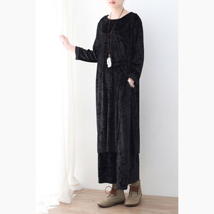 black two pieces autumn oversize corduroy pullover with cozy wide leg pants