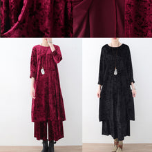 Load image into Gallery viewer, black two pieces autumn oversize corduroy pullover with cozy wide leg pants