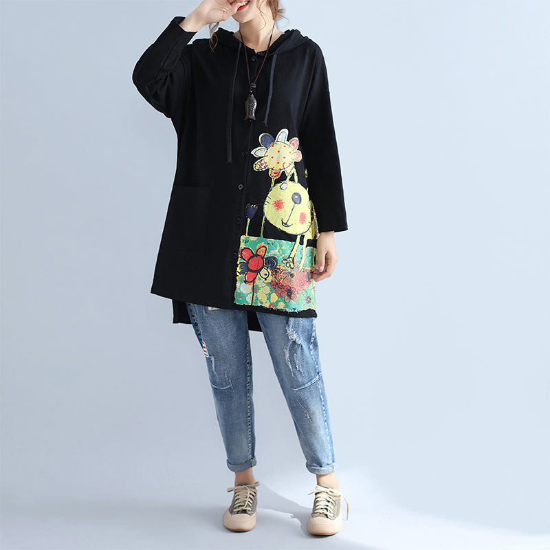 black warm cotton hooded cardigan prints oversize long sleeve trench coats