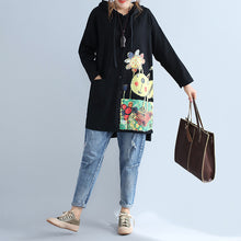 Load image into Gallery viewer, black warm cotton hooded cardigan prints oversize long sleeve trench coats