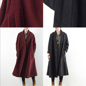 black warm woolen coats outwear 2017 winter outfits oversize jackets long