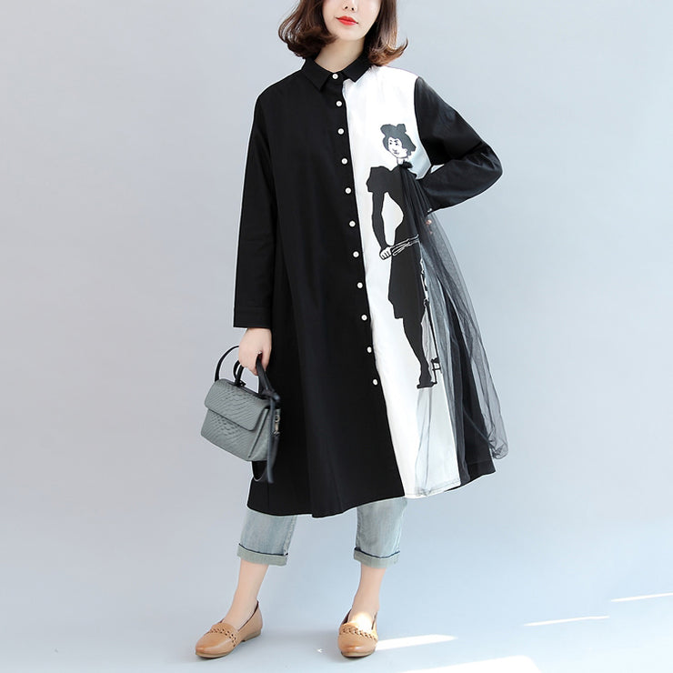 black white patchwork cotton outwear oversize casual long sleeve cardigans