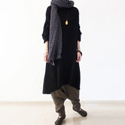 black winter dresses oversized long cotton sweaters warm knit dresses turtle neck 2021