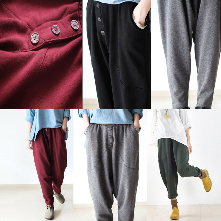 black winter pants thick cotton pants loose harem trousers jogging