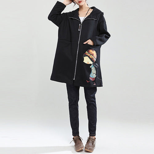 black winter thick cotton zippered cardigans plus size cartoon prints hooded trench coats
