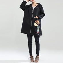 Load image into Gallery viewer, black winter thick cotton zippered cardigans plus size cartoon prints hooded trench coats