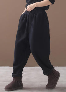black women casual cotton thick pants plus size warm false pockets harm pants