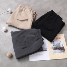 Load image into Gallery viewer, black women casual cotton thick pants plus size warm false pockets harm pants