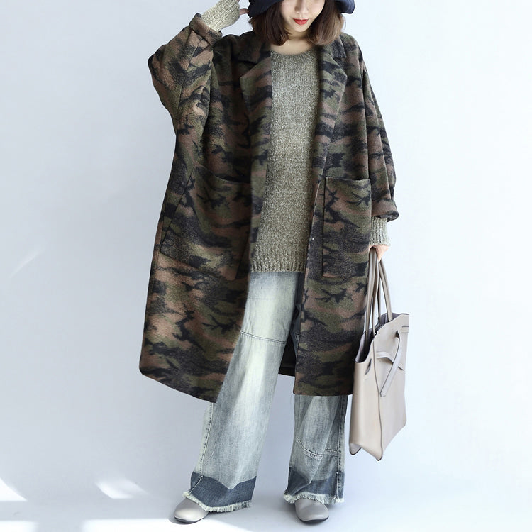 blackish green camouflage casual woolen cardigans oversize pockets long sleeve trench coats