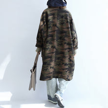 Load image into Gallery viewer, blackish green camouflage casual woolen cardigans oversize pockets long sleeve trench coats