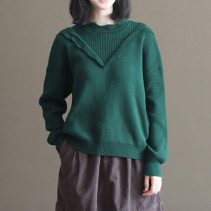 blackish green thick cotton knit blouse plus size lace collar sweater