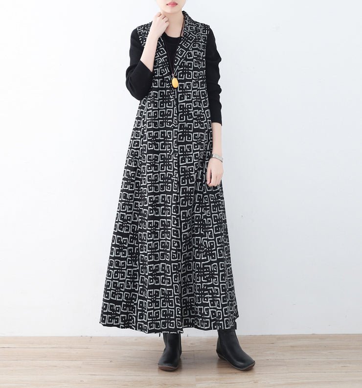 boutique black cotton polyester coat trendy plus size prints outwear women sleeveless maxi coat