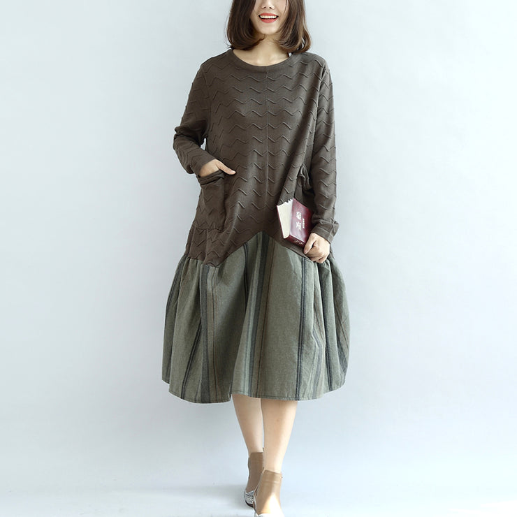 blossom Army green sweater dresses unique patchwork winter knit sweaters oversized pullover