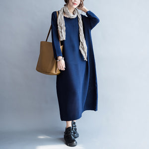 blue casual warm knit dresses oversize o neck sweater dress