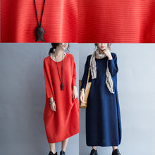 Load image into Gallery viewer, blue casual warm knit dresses oversize o neck sweater dress