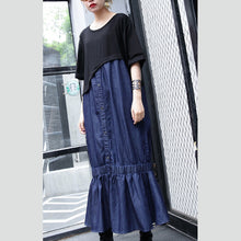 blue cotton dresses oversized patchwork cotton clothing dresses 2018 Fishtail maxi dresses