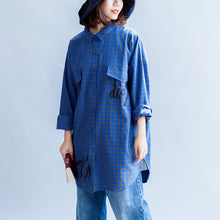Load image into Gallery viewer, blue fashion casual grid prints cotton blouse oversize turn-down collar shirt