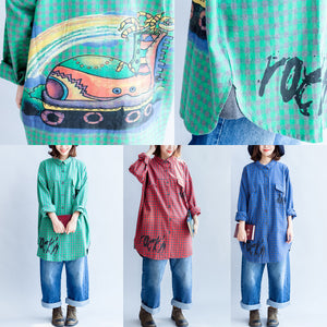 blue fashion casual grid prints cotton blouse oversize turn-down collar shirt