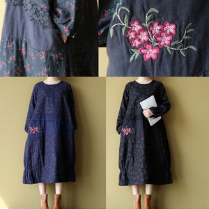 blue floral cotton warm dresses plus size embroidery linen casual long sleeve patchwork dresses
