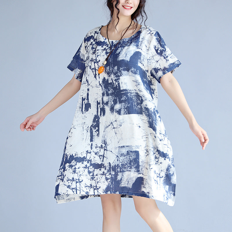 blue linen knee dress Loose fitting linen clothing dress fine prints o neck short sleeve linen dresses