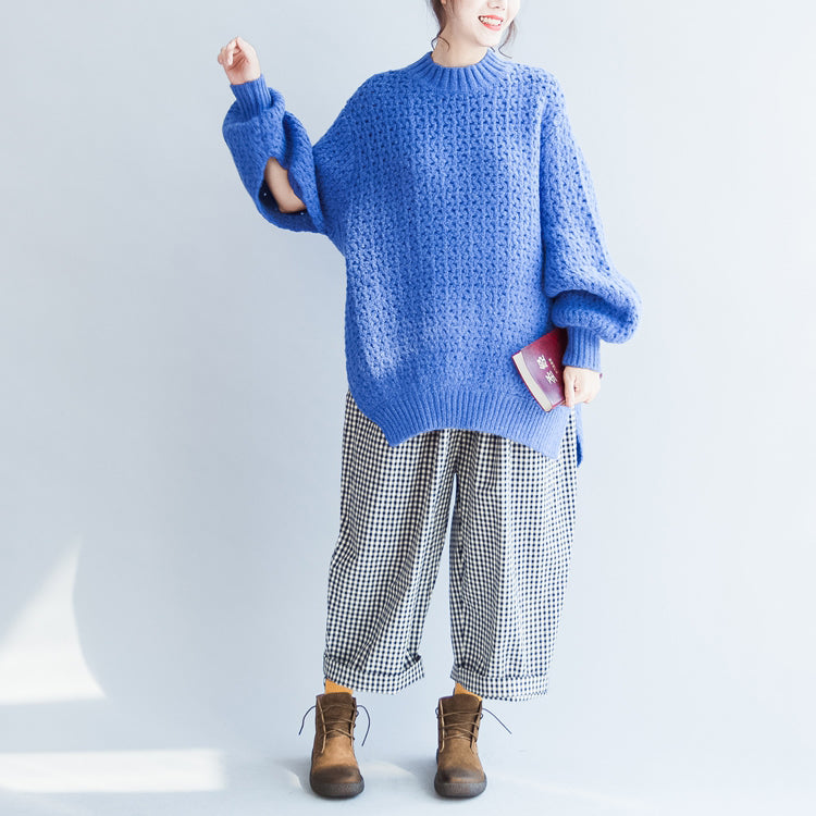 blue stylish casual cotton knit tops oversize autumn 2017 warm sweater