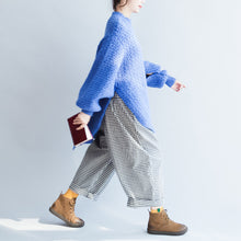 Load image into Gallery viewer, blue stylish casual cotton knit tops oversize autumn 2017 warm sweater