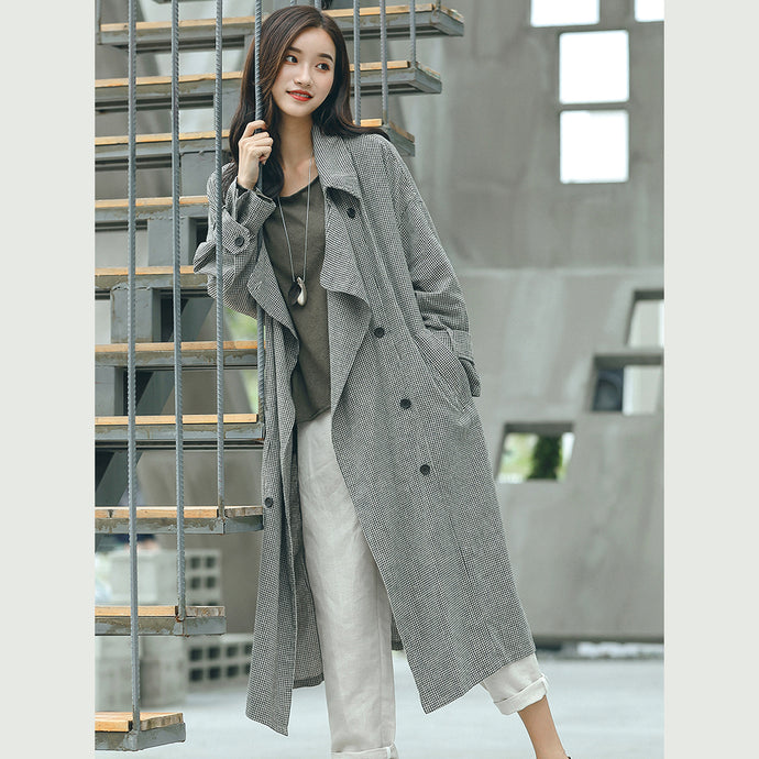 boutique Plaid Coat plus size Notched tie waist maxi coat New double breasted long coat