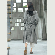 Load image into Gallery viewer, boutique Plaid Coat plus size Notched tie waist maxi coat New double breasted long coat