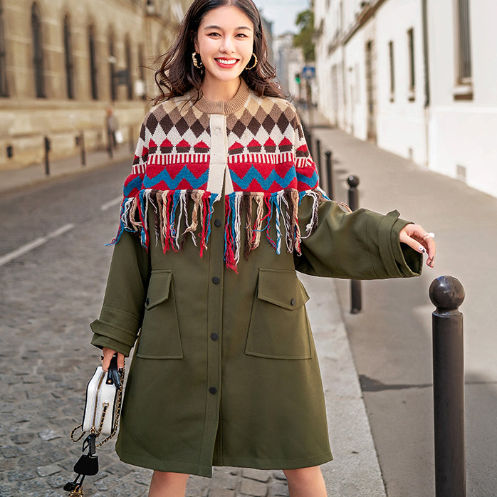 boutique army green patchwork Plaid Winter coat oversize o neck 2018 pockets coats