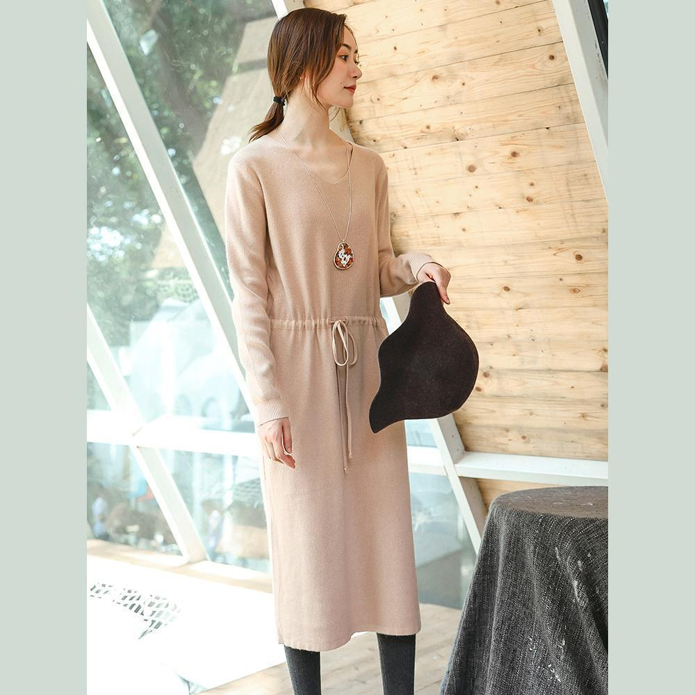 boutique beige knit Loose fitting V neck spring dresses top quality drawstring long knit sweaters
