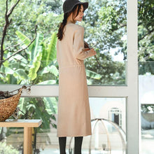 Load image into Gallery viewer, boutique beige knit Loose fitting V neck spring dresses top quality drawstring long knit sweaters