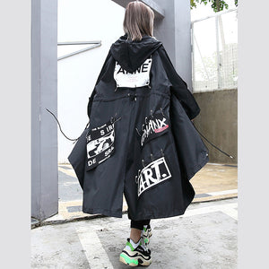 boutique black Coat oversize hooded Coat women Batwing Sleeve asymmetrical design Coats