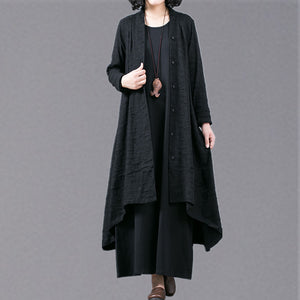 boutique black Jacquard Coats oversize baggy large hem asymmetrical design outwear women patchwork maxi coat
