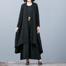 Load image into Gallery viewer, boutique black Jacquard Coats oversize baggy large hem asymmetrical design outwear women patchwork maxi coat