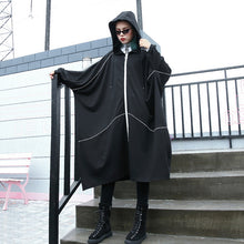 Load image into Gallery viewer, boutique black Winter coat oversized hooded new batwing sleeve asymmetrical design coat