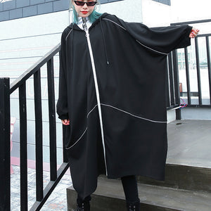 boutique black Winter coat oversized hooded new batwing sleeve asymmetrical design coat