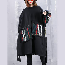 Load image into Gallery viewer, boutique black coat plus size O neck patchwork maxi t shirts women pockets side open tops