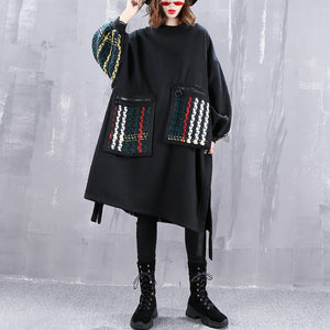boutique black coat plus size O neck patchwork maxi t shirts women pockets side open tops