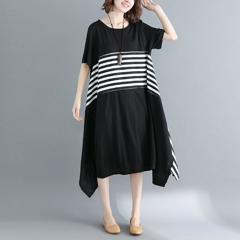 boutique black cotton knee dress Loose fitting cotton clothing dresses top quality short sleeve O neck asymmetrical design knee dresses