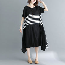 Load image into Gallery viewer, boutique black cotton knee dress Loose fitting cotton clothing dresses top quality short sleeve O neck asymmetrical design knee dresses