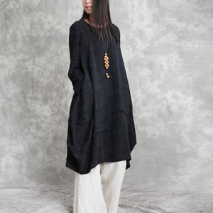 boutique black cotton linen caftans oversized o neck asymmetric traveling dress vintage long sleeve baggy dresses