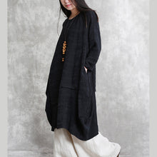 Load image into Gallery viewer, boutique black cotton linen caftans oversized o neck asymmetric traveling dress vintage long sleeve baggy dresses