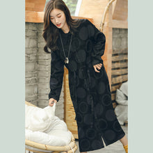 Load image into Gallery viewer, boutique black dotted jacquard long coat plus size Peter pan Collar cardigans waist Coats
