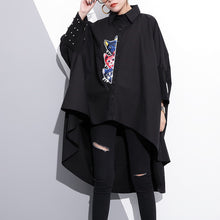 boutique black embroidery cotton tops oversized traveling clothing vintage low high batwing sleeve cotton t shirt
