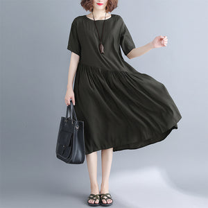 boutique black long cotton dresses trendy plus size O neck clothing dress boutique baggy dresses