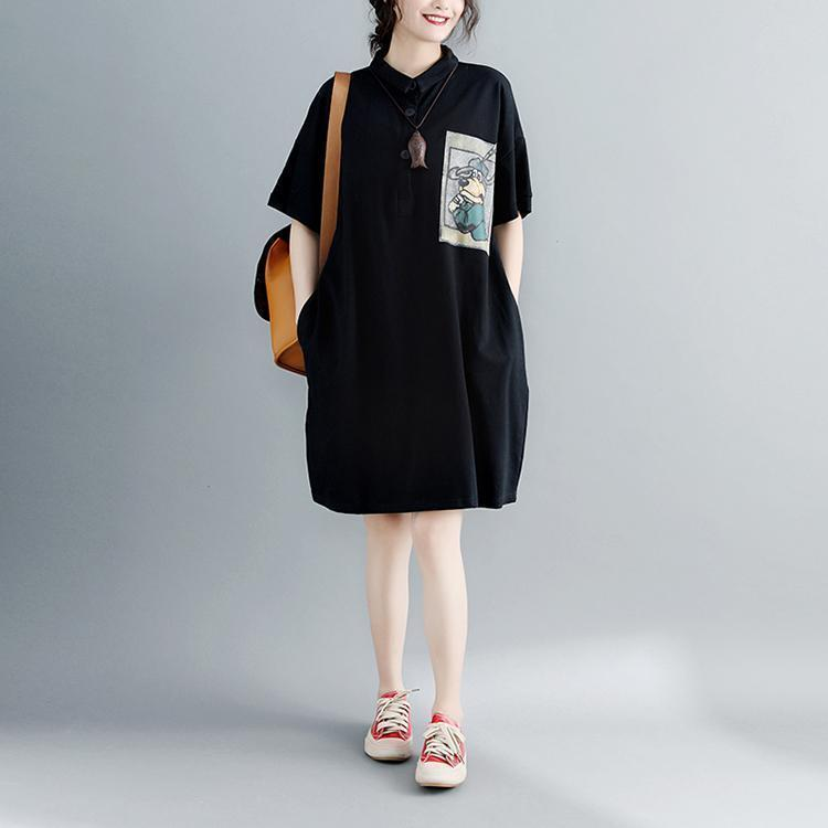 boutique black natural cotton dress oversized cotton dress Elegant short sleeve Turn-down Collar clothing dress