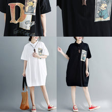Load image into Gallery viewer, boutique black natural cotton dress oversized cotton dress Elegant short sleeve Turn-down Collar clothing dress