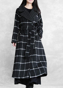 boutique black plaid wool coat for woman Loose fitting Notched tie waist Winter coat